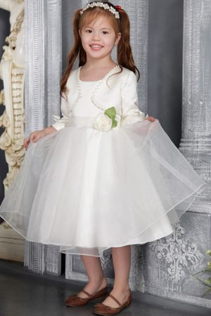 White A-line Scoop Sash Junior Bridesmaid Dress in New Hampshise