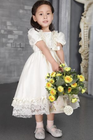 Off White A-line Scoop Beading Junior Bridesmaid Dress in Kansas