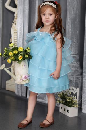 Nevada A-line Straps Beading Ruffles Aqua Junior Bridesmaid Dress