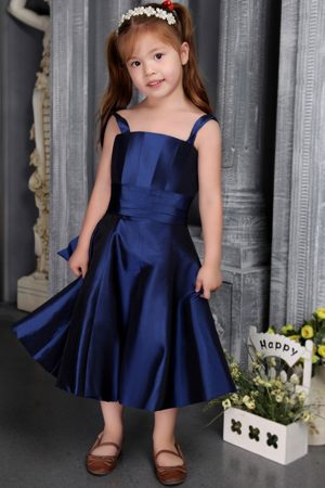 South Dakota A-line Straps Bow Navy Blue Junior Bridesmaid Dress