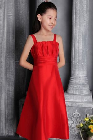 Tea-length Red A-line Straps Junior Bridesmaid Dress with Ruches
