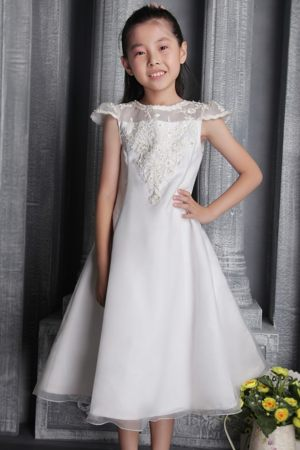 White A-line Tulle Lace Bateau Junior Bridesmaid Dress in Oregon