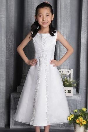 New Hampshise White Column Scoop Beading Junior Bridesmaid Dress
