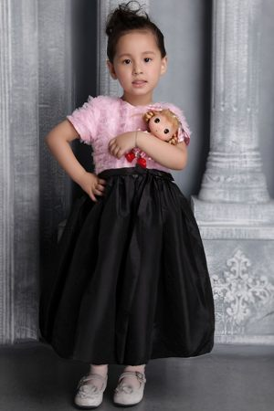 Pink and Black Scoop Ruffes Junior Bridesmaid Dress in Tennessee