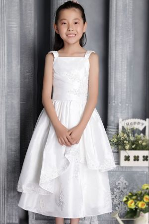 Tea-length White Column Square Appliques Junior Bridesmaid Dress