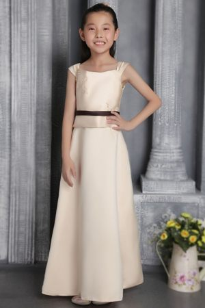 Champagne Square Appliques Junior Bridesmaid Dress in New Mexico