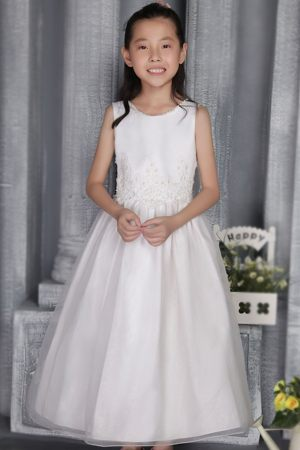 Scoop White A-line Ankle-length Appliques Junior Bridesmaid Dress