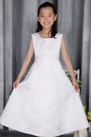 New York White A-line Square Embroidery Junior Bridesmaid Dress