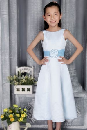 Tea-length Light Blue A-line Scoop Belt Junior Bridesmaid Dress
