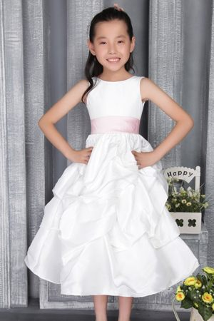 Ankle-length White A-line Scoop Junior Bridesmaid Dress in Rhode