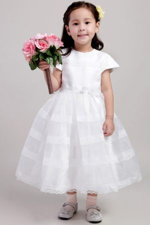 White A-Line Scoop Junior Bridesmaid Dress with Flower in Vermont