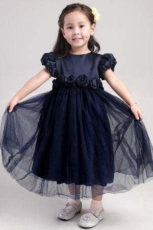 A-Line Scoop Junior Bridesmaid Dress in Navy Blue with Flowers