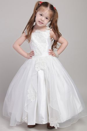 Square White Straps Appliques Junior Bridesmaid Dress in Nevada