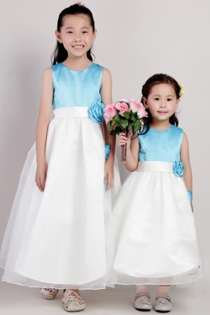 White and Blue A-line Scoop Junior Bridesmaid Dress with Flowers
