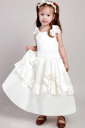 Ankle-length A-line Straps White Junior Bridesmaid Dress in Rhode