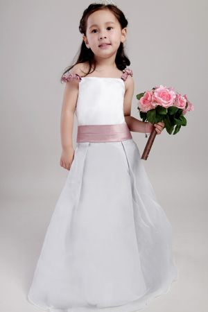 White A-line Straps Junior Bridesmaid Dress with Belt in Oklahoma