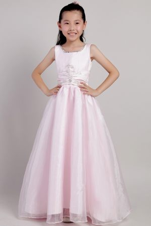 Baby Pink A-line Organza Junior Bridesmaid Dress with Beading in Augusta