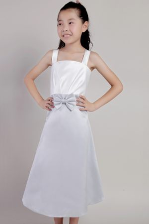 White and Grey Tea-length Taffeta Junior Bridesmaid Dress with Straps and Bowknot