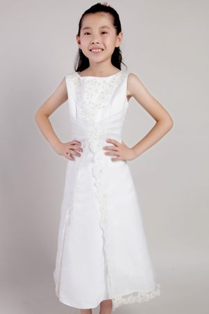 Ankle-length Junior Bridesmaid Dress with Beaded Lace Applique and Hem in Frankfort