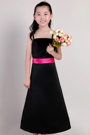 Black A-line Ankle-length Junior Bridesmaid Dress with Hot Pink Sash in Springfield