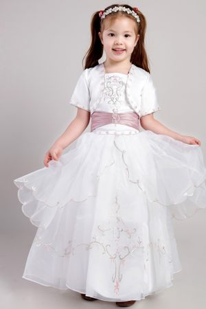 White and Blush Embroidery Junior Bridesmaid Dress with Jacket in Honolulu HI