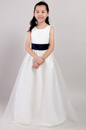 White A-line Scoop Neck Floor-length Junior Bridesmaid Dress with Navy Blue Sash
