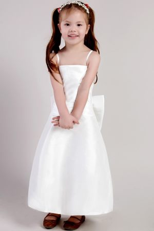 Discount Ankle-length Junior Bridesmaid Dress with Bowknot in Atlanta GA