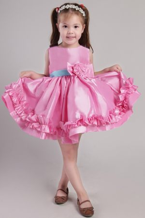 Flounced Rose Pink Junior Bridesmaid Dress with Blue Sash and Bowknot in Atlanta