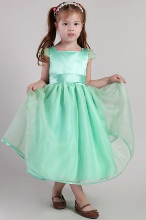 Apple Green Square Neck Tea-length Junior Bridesmaid Dress with Cap Sleeves