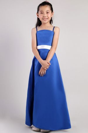 Blue Ankle-length Satin Junior Bridesmaid Dress with Straps and White Belt in CO