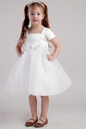 Square Neckline Toddler Junior Bridesmaid Dress with Sash and Beaded Flowers