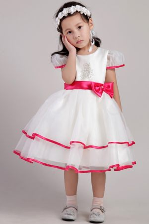 White Tea-length Cap Sleeves Junior Bridesmaid Dress with Hot Pink Hem and Sash