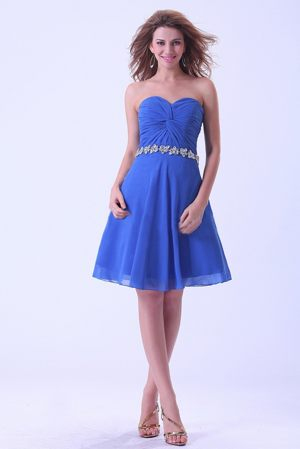 Dubbo Royal Blue Short Sweetheart Bridesmaid Dress With Appliques