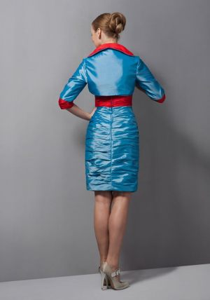 Belt Sweetheart Teal Taffeta Bridesmaid Dress with Jacket on Sale