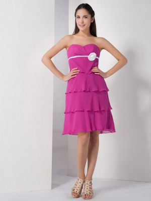 Sweetheart Fuchsia Flower Layered Bridesmaid Dress in Palmerston