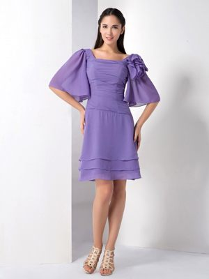 NSW Purple Chiffon Square Bridesmaid Dress with Butterfly Sleeves