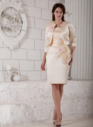 Knee-length Champagne Satin Hand Made Flowers Bridesmaid Dresses