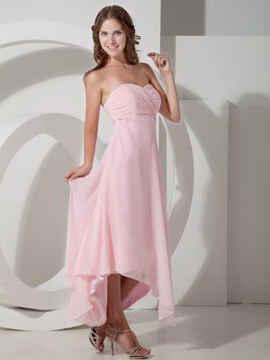 Asymmetrical Chiffon Ruched Baby Pink Bridesmaid Dresses in Roade