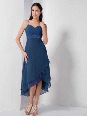 Navy Blue High-low Thrapston Bridesmaid Dress with Spaghetti Straps