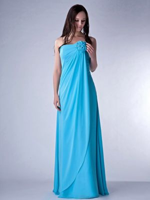 Chiffon Hand Made Flowers Aqua Blue Bridesmaid Dress in Grafton Regis