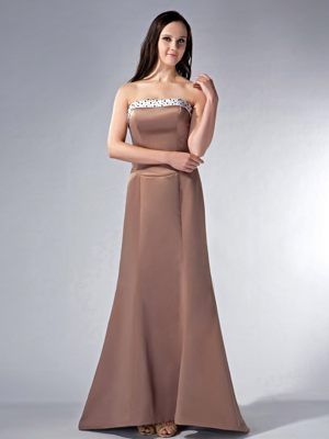 Brown Strapless Satin Beading Train Bridesmaid Dress in Staithes