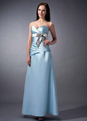 Baby Blue Sweetheart Satin Ruched Bow Bridesmaid Dress in Skipton