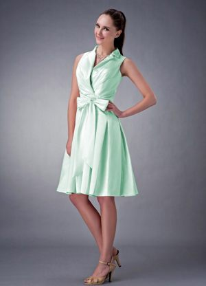 V-neck Ruched Bow Apple Green Bridesmaid Dresses in Northallerton