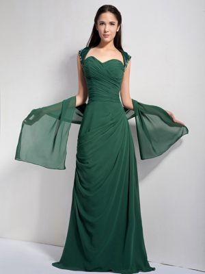 Ruched Sweetheart Dark Green Chiffon Bridesmaid Dress with Brush Train