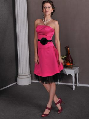 Hot Pink Hand Made Flowers Strapless Cawood North Bridemaid Dresses