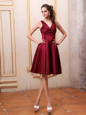 V-neck Satin Burgundy Ruched Bridemaid Dress in North Walsham Norfolk