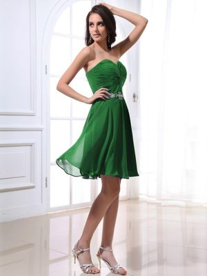 Beading Green Sweetheart Ruched Bridesmaid Dresses in Cringleford
