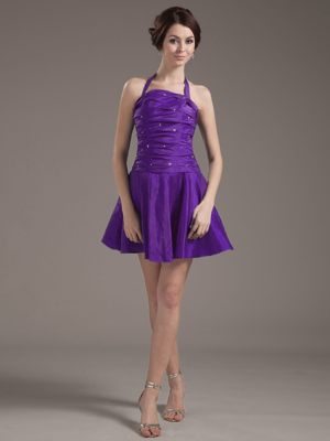 Beading Halter Purple Ruched Bridesmaid Dresses in Attleborough Norfolk