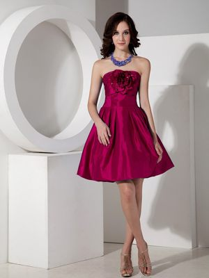 Wine Red Strapless Taffeta Flowers Bridesmaid Dresses in Knowsley