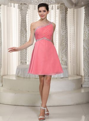 Watermelon One Shoulder Chiffon Beaded Wallasey Bridesmaid Dresses